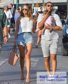 Lovely photos of John Legend, Chrissy Teigen and baby Luna on the streets in St Tropez (Photos)